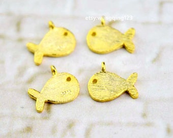 4 pcs sterling silver matte gold fish charm pendant  BL