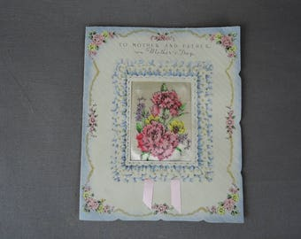 Vintage Mother's Day card for Mother and Father, 1940s 8x6 inches, Padded satin, ribbon