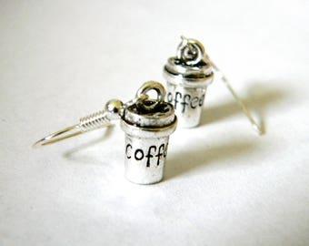 Coffee Cup Earrings Silver Color Dangle Earrings Three Dimensional