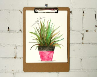 Watercolor Plant with Clipboard