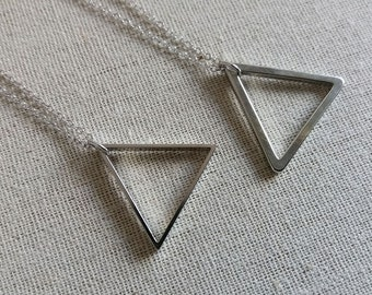 SALE Triangle Necklace. Geometric Necklace. Silver Brass Triangle. Layering Necklace. Long Geo Necklace. Modern Trendy Hip