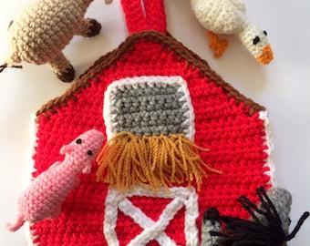 Crocheted Barn Pouch with Farm Animals