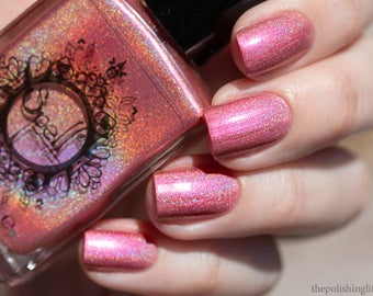 Spell Polish ~Kitty Winks~ pink holo chrome nail polish!