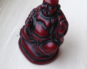 Tiny Carved Rosewood Buddha with Loop for Chain or Cord