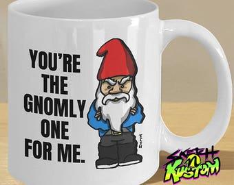 Valentine's Mug, Gnome Mug, Funny Gnome Gift, Gnome Hat and Beard Cup, Angry Gnome Print on Mug, Gnome Gifts