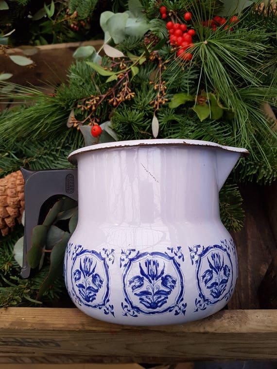 Vintage French Enamel Blue Floral Jug Vase