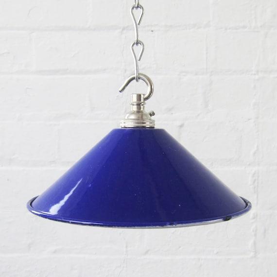 Metal Blue Enamel Light Lamp Shade with new bayonet fit bulb Holder