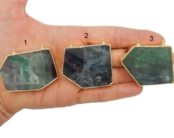 Rainbow Fluorite Slab - Gorgeous Double Bail Pendant with Electroplated 24k Gold Edges (Lot G-188)