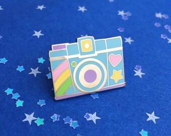Pastel Rainbow Camera Pin Badge - Camera Lapel Pin