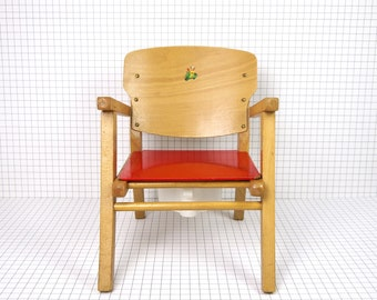 Potty chair for children, French vintage wooden potty chair for kids, wooden commode chair with plastic potty, antique wood kids armchair