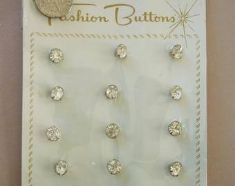 12 Rhinestone Buttons, Carded, NOS, 1960's, Dressmaker Set, Twelve on Original Store Card, 1/4 inch