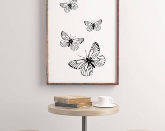 Butterflies downloadable print, printable wall art,  nursery decor, black and white print, rustic home decor, black and white
