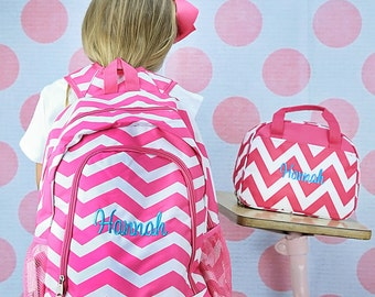 Personalized Hot Pink Chevron School Size Backpack Book Bag - Monogrammed  Name or Initials or Word 92e3abd5289ab