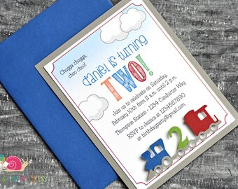Train Birthday Party Invitations · A2 LAYERED · Blue and Gray · Train Party   Choo Choo Train   All Aboard