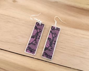 RECTANGLE FINESS purple floral polymer clay earrings