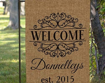 garden flags personalized. Personalized Established Family Burlap Garden Flag, Custom Personalized, Yard Flags S