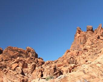 Mountain Desert Art Print, Nature Photography Blue Adventure Landscape Wall Art Wall Decor Zen Rustic