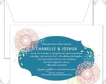 Garden Flower Wedding Invite, Modern Flower Invite, Flowers, Flower Invite, Spring Wedding Invitation, Beach Wedding invite, Abstract invite