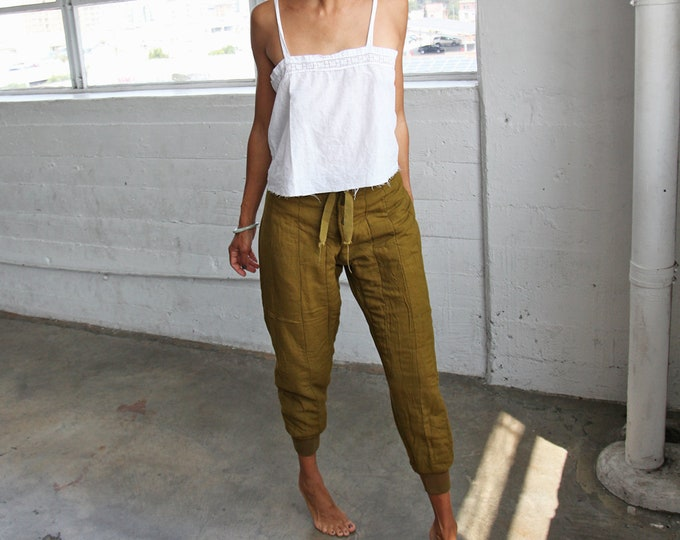 Quilted Drawstring Pants - moss