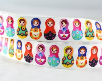 """Colorful Russian Matryoshka Nesting Dolls Grosgrain Ribbon 7/8"""" Wide Scrapbooking HairBows Parties DIY Projects CR1015"""