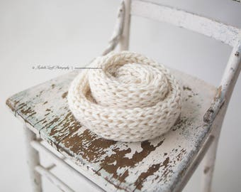 Hand Knit Luxury Baby Wrap in Off White, Ready to Ship Item