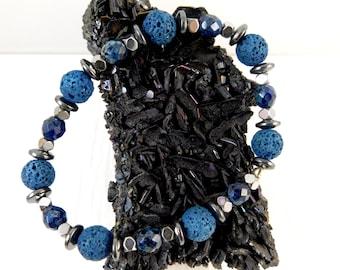 Blue Lava and Hematite Stretch Bracelet