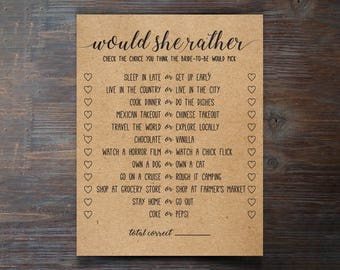 Would She Rather . Would She Rather Bridal Shower Game . Bridal Shower Game . Wedding Shower Game . Bachelorette Party Night . Rustic .