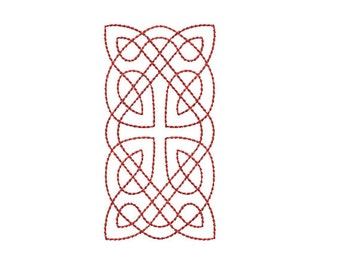 Machine Embroidery Design Instant Download - Celtic Knotwork Rectangle 1 Quilting Redwork