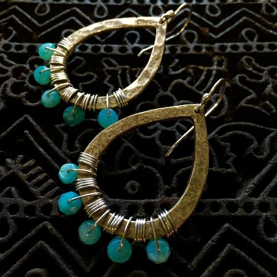 Brass Tear Drop with Peruvian Opal Earrings