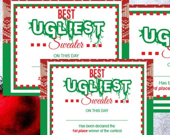 Ugly Christmas sweater - Ugly Christmas award - Ugly Sweater certificate -tacky Christmas sweaters, Christmas Party, Holiday PRINTABLE