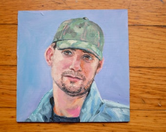 James, original oil on hardboard panel painting study