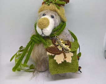 Needle felted OOAK artist teddy bear great gift for collectors