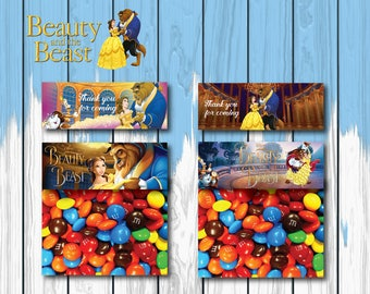 Beauty and the Beast Favor Bag Topper ,Beauty and the Beast Treat Bag Topper, Princess Belle Candy bag toppers, Treat Bag Topper| BEA_FULL