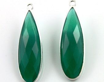 Green Onyx Elongated Pear Bezel Gemstone Fancy Component, 10x30mm 1 Piece, (SSBZC9020/GNX)