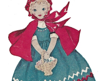 Red Riding Hood Grandma Topsy Turvy Doll PATTERN 1656 for a 15 inch doll 1950s in PDF format Instant Download
