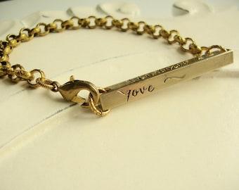 Personal Mantras Hand Stamped Custom Bracelet, Mom, Girlfriend, Best Friend, Wife, Partner