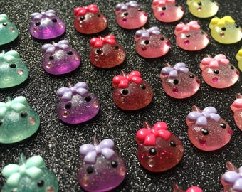 6pc. Colorful Water Drops with a bow, resin flatback, so Kawaii