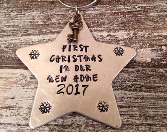 First Christmas in our new home~ Christmas ornament~ Hand stamped~ New home~ House warming gift