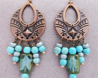 Earrings/Valentine's Day Gift/Southwester/Turquoise and Copper Dangle Earrings/60mm