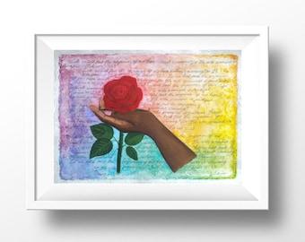 Hold fast gouache mixed media christian art print rose flower painting