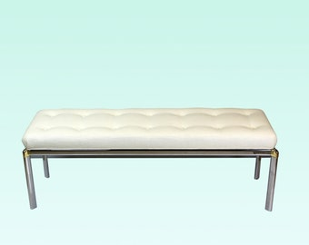 Mid Century Chrome Bench With Linen Cushion - Chrome Bench - Linen Bench - Vintage Bench