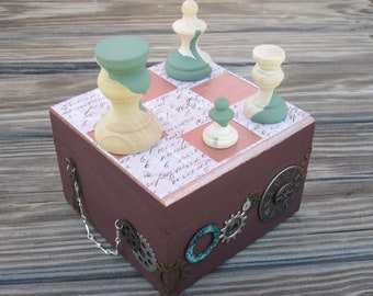 Steampunk chessboard with chess pieces trinket / jewelry box
