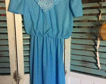 Vintage baby blue and white print dress