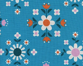 Cotton + Steel Florametry Bright Blue, Wellsummer Fabric