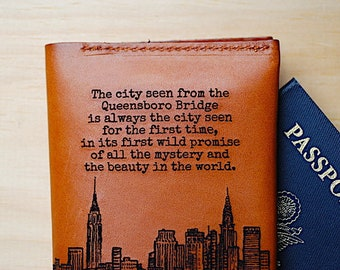 Customized Travel Wallet Guy Man Gift, Personalized Passport Sleeve, Boyfriend, Quote, For Him, New York City, Manhattan, Queensboro Bridge