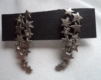 Vintage Signed JJ Pierced Earrings Silver pewter/Rhinestone Shooting Stars Unworn