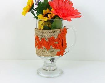 Burlap glass mug yellow and orange flowers with orange leaf trim 118