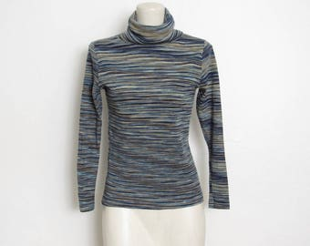 1970s Turtleneck Sweater / Blue & Tan Space Dyed Knit / Vintage 70s Fitted Pullover Top