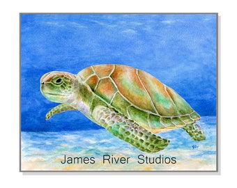 Sea Turtle Art Sea Turtle Painting Sea Turtle Print From Original Watercolor. Beach Home Decor Beach Art Ocean Decor Ocean Art Sea Art Print