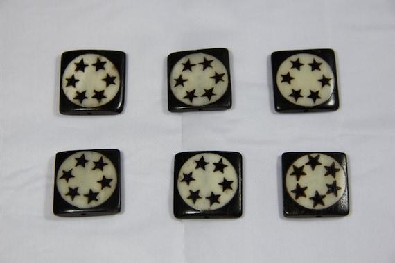 6 pcs Batik Bone Star Rectangle Beads